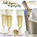 matana 50 Champagnerflöten, Einwegbecher, Sektkelche Plastik 150 ml - Glitter Gold Sektgläser Plastik - Ideal für Hochzeiten, Partys, Cocktails & Premium-Anlässe - 4