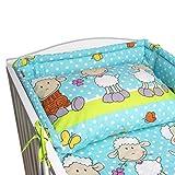 BlueberryShop juego de ropa de cama de algodón, funda de edredón 90 x 120 cm, fundas de almohadas 40 x 60 cm, protector de la camita 35 x 150 cm, Para niños de 0-3 años, Azul Oveja
