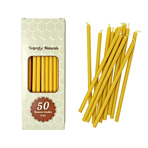50 Natural 100% Pure Raw Beeswax Taper Candles (6') Natural Honey Scent, Birthday Cake, Decor, Dripless, Smokeless, Nontoxic