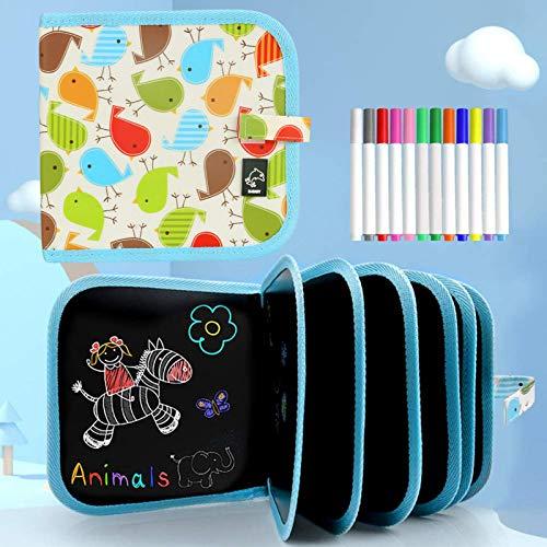 Tabla de Dibujo Portátil para Niños, Tablero de Dibujo de Graffiti, Bloc de dibujo portátil borrable, reutilizable,12 bolígrafos borrables de Color,14 Página (E)
