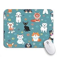 ROSECNY 可愛いマウスパッド プードルブルー猫と犬フラット動物アバターバセットノンスリップラバーバッキングコンピュータマウスパッド用ノートブックマウスマット
