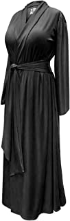 Solid Black Plus Size Robe in Poly/Cotton and Rayon/Spandex Jersey with Attached Belt