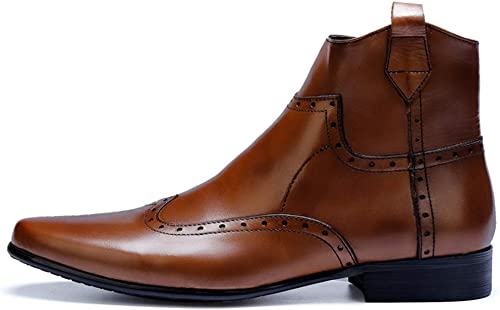 ZHRUI Brogues Stiefel para Hombre Soft Sole Durable Genuine Leather Breathable Stiefel (Farbe   braun, tamaño   EU 40)