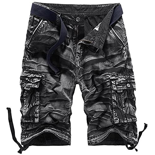 Pantalones Casuales de Color sólido Retro de Verano para Hombre, Monos Multibolsillos Europeos y Americanos, Pantalones Cortos de Talla Grande para Exteriores 34