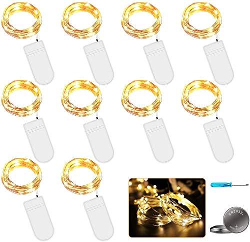 LED Lichterkette mit Batterie, 10 Stück 2 Meter 20er Micro Kupfer Lichterkette Warmweiß IP65 Wasserdicht Dekorative Lichterkette String Fairy Light Drahtlichterkette für Party Garten Hochzeit