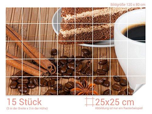 Graz Design 761627 tegelstickers koffie/cake voor tegels | keuken tegels met folie beplakken Fliesenmaß: 25x25cm (BxH) Afbeelding: 120 x 80 cm (B x H)