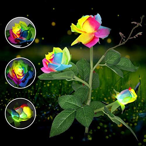 Besrina Solar-Blumenleuchten für den Außenbereich, wasserdicht, LED, solarbetrieben, bunte Rosenpfahl-Lampe für Garten, Terrasse, Hof, Weg, Party, Urlaub, Dekoration