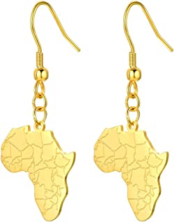 Sponsored Ad - 316L Stainless Steel Africa Map Design Earrings, Black/18K Gold Plated, Minimalist Dangle Earrings Statemen...