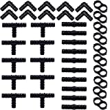 URATOT 40 Pieces Drip Irrigation Fittings Kit 1/2' Tubing Set, 10 Tees, 10 Couplings, 10 Elbows and 10 End Cap Plugs Drip Irrigation Barbed Connectors for Drip Sprinkler Systems