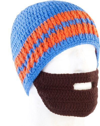 Bonnet avec barbe - Bleu / orange
