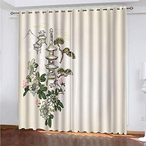 YUNSW Simplicity 3D Digital Printing Polyester Fiber Curtains, Garden Living Room Kitchen Bedroom Blackout Curtains, Perforated Curtains 2 Piece Set