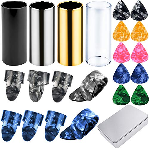 Augshy 4 Pieces Medium Guitar Slides(Include 3 Colors Stainless Steel, 1 Pieces Glass), 10 Pieces Guitar Picks and 8 Pieces Plastic Thumb & Finger Picks in Metal Box