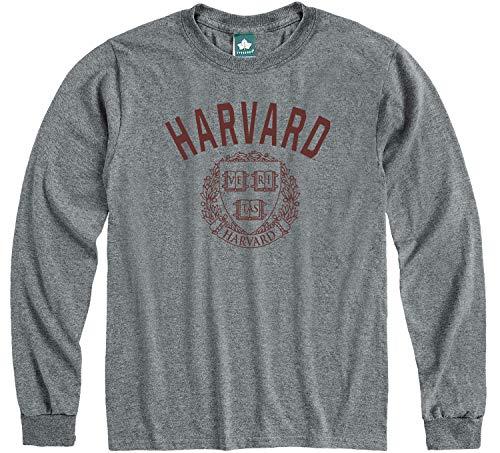 Ivysport Harvard University Crimson Long Sleeve Adult Unisex T-Shirt, Heritage, Charcoal Heather, X-Large