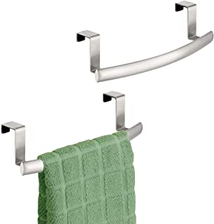 mDesign Modern Metal Kitchen Storage Over Cabinet Curved Towel Bar - Hang on Inside or Outside of Doors, Organize and Hang Hand, Dish, and Tea Towels - 9.7