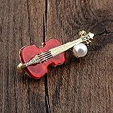 Moda Rojo Violín Broche Traje de Hombres Insignia Estilo Metal Solapa Pines Y Broches Vestido De Camisa Música Música Accesorios
