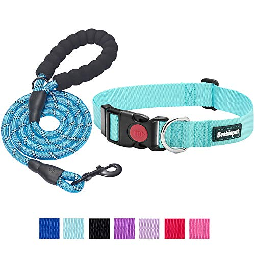 beebiepet Classic Nylon Dog Collar with Quick Release Buckle Adjustable Dog Collars for Small Medium Large Dogs with a Free 5 ft Matching Dog Leash (M Neck 14