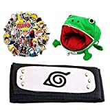 Leaf Village Headband with Sticker and Anime Frog Coin Purse for Halloween Cosplay,Ninja Fans Costume Dress Up Set,Gifts Set Green