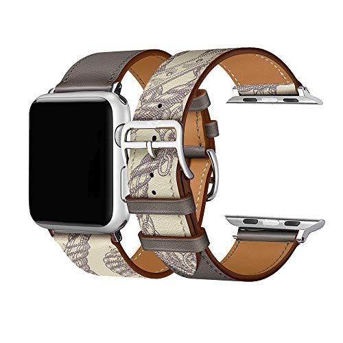 Cailin Kompatibel mit iWatch Armband 38mm 42mm 40mm 44mm, Echtleder Uhrenarmband Ersatz für Watch Series5 Series 4, Series 3, Series 2, Series 1 (38mm/40mm, Olive)