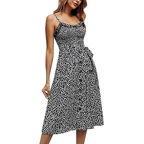 Find Discount KYLEON Women's Casual Beach Summer Dresses Floral Print Flattering A-Line Spaghetti St...