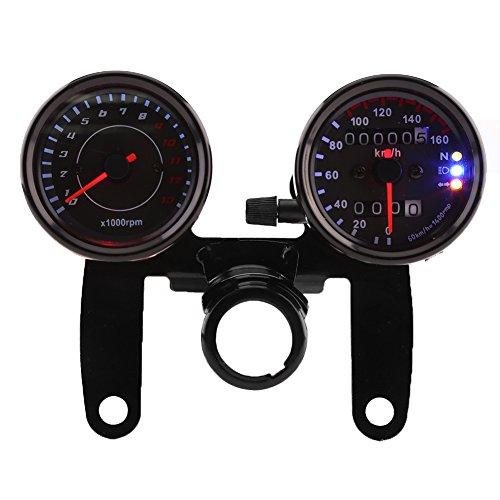 Qiilu 12V 13000 RPM Tachimetro Odometro Km/h con Contachilometro con Supporto