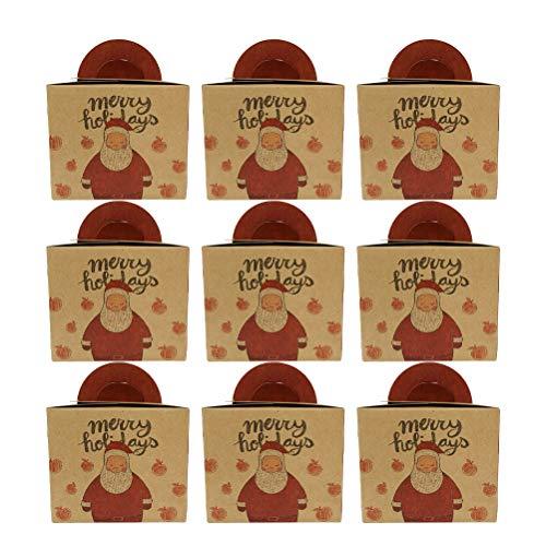 PRETYZOOM 9PCS Bolsa de mano de Navidad Bolsa de papel Kraft Bolsa de papel elegante Caja de embalaje de Apple Bolsa de Nochebuena Bolsa de papel de impresión creativa Estilo de Santas