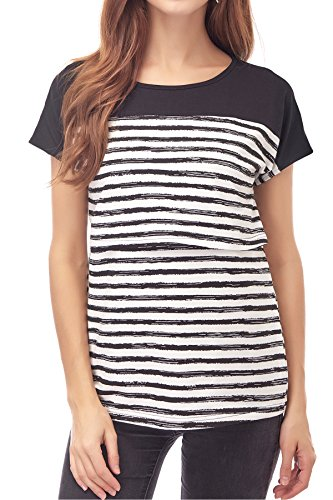 Smallshow Women's Maternity Nursing Tops Breastfeeding T-Shirt Medium Black