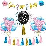 Gender Reveal Party, 29 Sexo Revelan Decoraciones De Fiesta, para Baby Shower Fiesta De Cumpleaños, Incluye Pancartas y Globos, Borlas, Bolas Flores y Más.