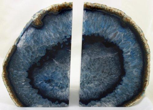 Par de Único Sujetalibros de ágata Oscuro Azul de lujo regalo original