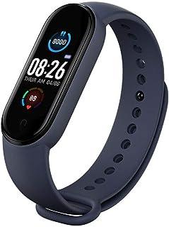 M5 Smart Sport Pulsera Fitness Tracker, con IP67 resistente al agua, pantalla a color de 0,96 pulgadas, podómetro, reloj de fitness con pulsómetro y presión arterial, Bluetooth Smart Fitness reloj para hombres y mujeres, color morado