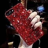 Shinyzone Glitzer Hüll für Huawei P20 Pro, 3D Handgefertigt Bling Funkeln Diamant Kristall Strass Zurück Handyhülle Transparent Weich Silikon TPU Bumper Schutzhülle,Rot