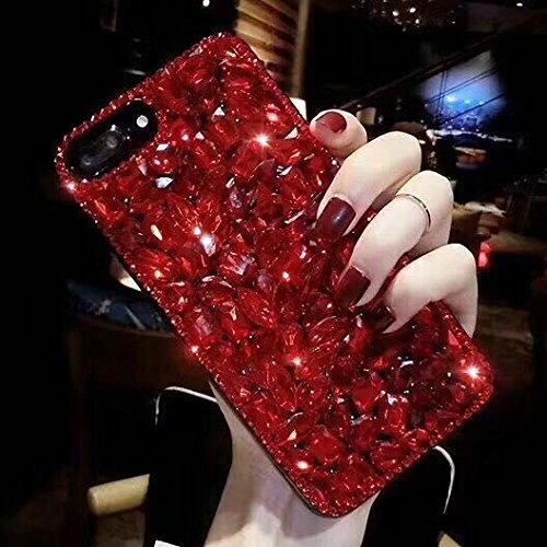 Shinyzone Coque pour iPhone 6 Plus/iPhone 6S Plus,Bling 3D Fait à La Main Brillante Diamant Cristal Strass Gemme Transparente Pare-Chocs Souple Silicone TPU,Rouge