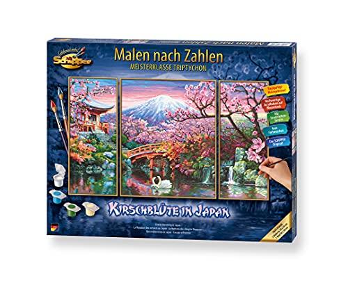 Schipper 609260751 Malen nach Zahlen, Kirschblüte in Japan - Bilder malen für Erwachsene, inklusive Pinsel und Acrylfarben, Triptychon, 50 x 80 cm
