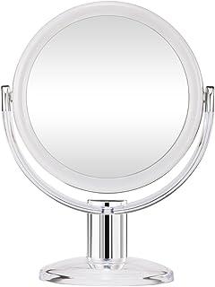 Gotofine Dos Lados Espejo de Mesa para Maquillaje, Ampliación 1X y 10X Espejo con Rotación 360 Grados - Claro y Transparente, Calidad Premium(10X)