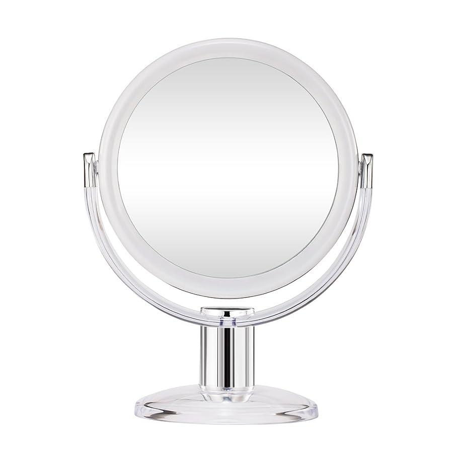 Gotofine スタンドミラー 卓上鏡 両面鏡 10倍と等倍 透明 アクリル樹脂 おしゃれ 円型