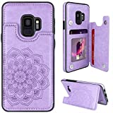 MMHUO for Samsung Galaxy S9 Case with Card Holder,Flower Magnetic Back Flip Case for Samsung Galaxy S9 Wallet Case for Women,Protective Case Full Cover Phone Case for Samsung Galaxy S9 5.8',Purple