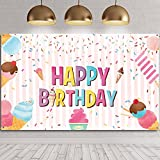 Ice Cream Birthday Party Backdrop Decorations Sweet Summer Ice Cream Party Favors for Kids Girls Boys Popsicle Themed Happy Birthday Banner Baby Photography Background Photo Booth 70.8 x 43.3 inch