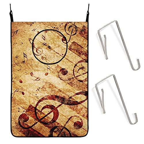 IUBBKI Notas musicales Cesta para colgar en la puerta Bolsa para cesto de lavandería Gran capacidad Almacenamiento en la pared Cesta plegable para baño Dormitorio Ahorro de espacio para juguet