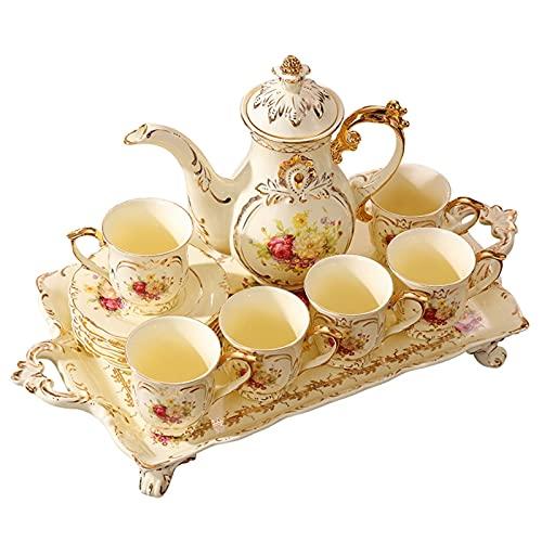 Cafe Mug Taza de cafe Juego de Tazas Taza de café Conjuntos de té de porcelana de 8 oz Tazas y platillos SERVICIO PARA 6, CON TEAPOT CUCHER CREMA COMPARE TEASPOONS TEAPOONS TEA, CAFÉ tazas de café Ta