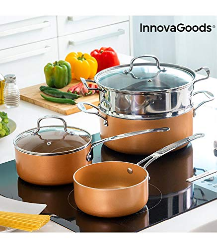 InnovaGoods IG813918 Batería de Cocina con Vaporera Copper-Effect (6 Piezas), aluminio, acero inoxidable y vidrio