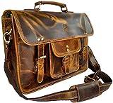 Rustic Town 16 inch Leather Laptop Messenger Bag Computer Satchel Briefcase Bag
