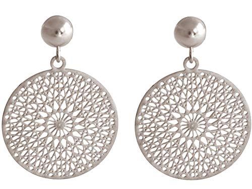 Gemshine Damen Ohrringe Yoga Mandala Kreis rund 2,5 cm in Silber, hochwertig vergoldet oder rose Ohrhänger - Nachhaltiger, qualitätsvoller Schmuck Made in Spain, Metall Farbe:Silber