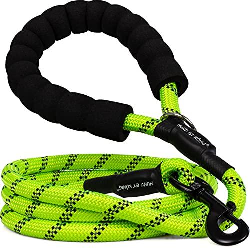 HUND IST KÖNIG® Hundeleine - 1,5m Hunde Leine für Gassigehen & Training - Führleine mit weichem Griff & Reflektoren - ideale Alltagsleine für alle Rassen - leicht & robust, inkl. eBook