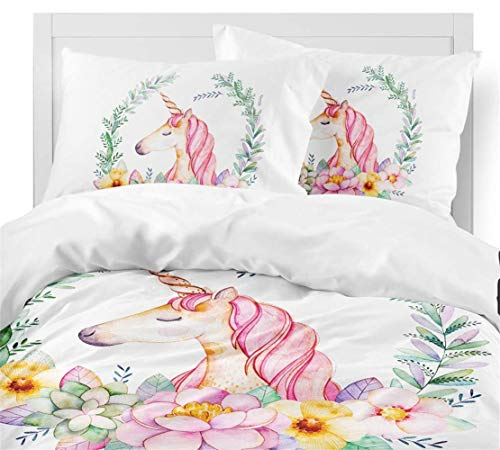 HommyFine Juego de ropa de cama infantil con funda de edredón y funda de almohada, juego de ropa de cama para niña (unicornio Reina de unicornio (1 funda nórdica + 2 fundas de almohada), 200 x 200 cm)