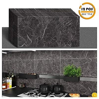 """VEELIKE 12pcs Marble Peel and Stick Vinyl Flooring Stick on Floor Tile Vinyl Floor Adhesive Peel and Stick Bathroom Floor Tile Wall Tile 23.6""""x11.8"""""""