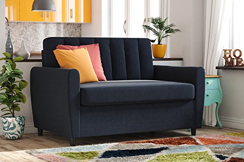 Novogratz Brittany Sleeper Sofa with Memory Foam Mattress - Twin - Navy Blue