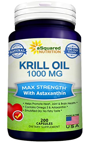 Pure Krill Oil 1000mg w/Astaxanthin & Omega 3 xl (200 Capsule Supplements) Antarctic Sourced Rich in DHA & EPA & Phospholipids, Compare to Omega 3 6 9 Fish Oil Fatty Acids, 100% Purified No Mercury
