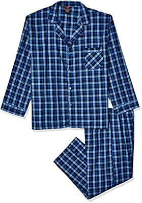 Hanes Big and Tall Men's Woven Plain-Weave Pajama Set, Navy, Large from Hanes