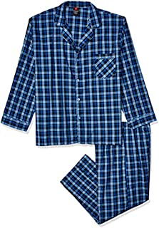 Image of Hanes Lightweight Polyester Cotton Plaid Pajamas for Men - See More Colors