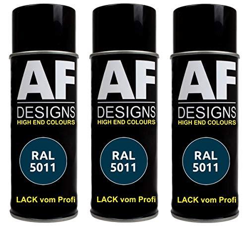 Alex Flittner Designs 3X RAL Lackspray Autolack Buntlack Spraydose RAL5011 STAHLBLAU glänzend
