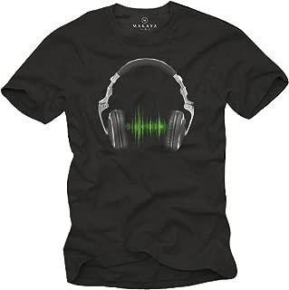 Cooles Musik T-Shirt mit Kopfhörer Electro House schwarz Herren Größe S-XXXL